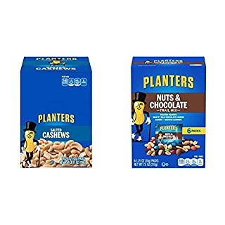 PLANTERS Salted Cashews, 1.5 oz. Bags (18 Pack) & Nuts and Chocolate Trail Mix, 1.25 oz. Bags (6 Pack) - Trail Mix with M&M's Chocolate and Roasted Peanuts - Sweet and Salty Energy Boost - Kosher