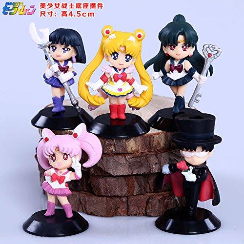 Sailor Moon Tsukino Usagi Sailor Saturn Chibi Usa Tuxedo Mask Chiba Mamoru Meiou Setsuna PVC Figures Toys Keychains 5pcs/set