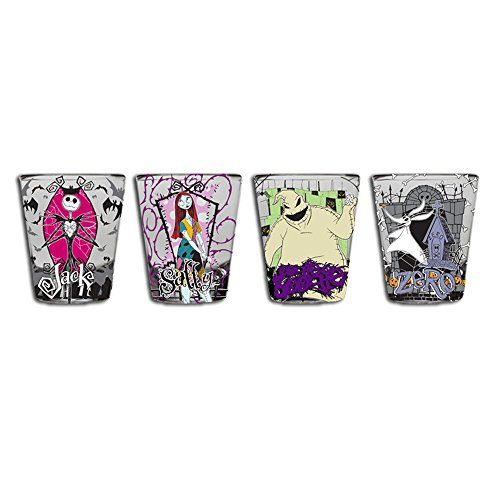 Silver Buffalo NB031SG2 Disney Nightmare Before Christmas Mini Glass Set, 4-Pack]()