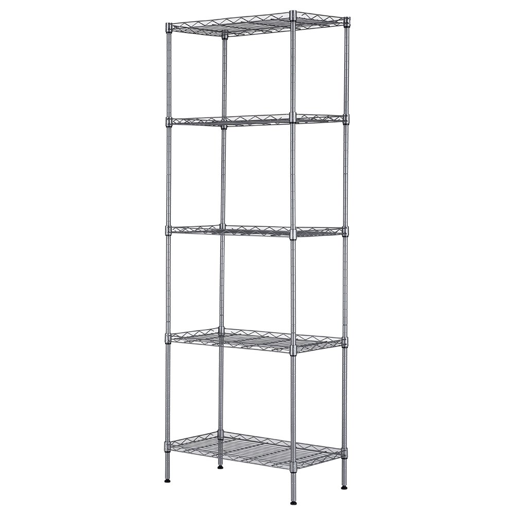 JS HOME 4-Tier Wire Shelving Unit Heavy Duty Storage Organizer, Silver