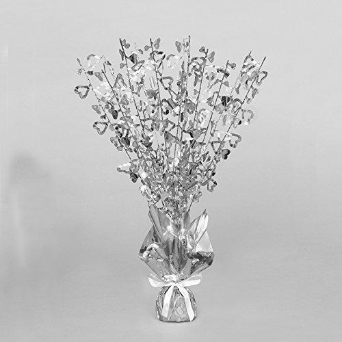"16"" Silver Heart Sparkle Foil Weight Table Centerpiece Decoration"