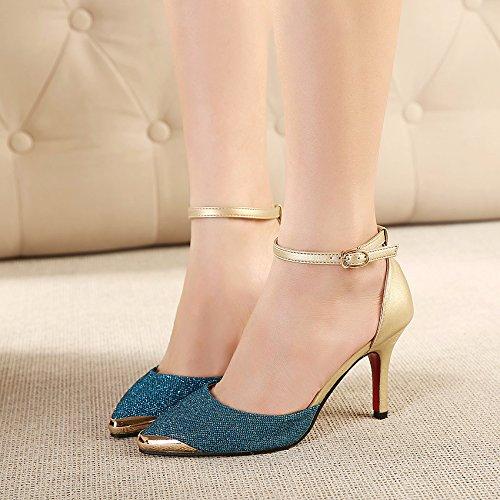 Hebilla GAOLIM Alto Y Mujeres Única Mujer Hueca Blue Zapatos Una Sandalias Palabra Afilados Tacón Tacones zwHzS7Zxqr