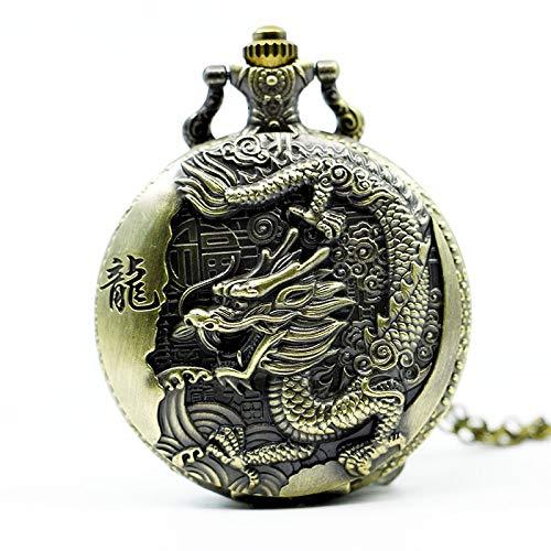 (Vintage Bronze Chinese Style Dragon Design Quartz Pocket Watch with Necklace Chain)