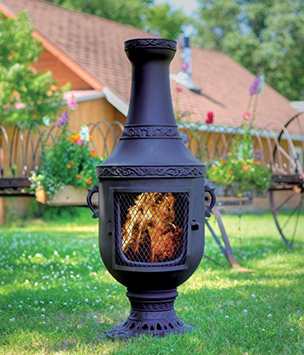 The Blue Rooster Co. Venetian Style Cast Iron Wood Burning Chiminea in Charcoal. by The Blue Rooster
