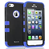 Korecase Combo iPhone 5 5S Case,Shockproof Heavy Duty Combo Hybrid Defender High Impact Body Rugged Hard PC & Silicone Case Protective Cover For Apple iPhone 5 5S SE (Blue)