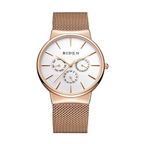Biden Watch Mens Women Stainless Steel Luxury Business Casual Milanese Mesh Band Wrist Watch Waterproof (RoseWhite)