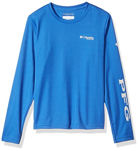 Columbia Boys' PFG Terminal Tackle Long Sleeve Tee , Vivid Blue, Cool Grey, Large