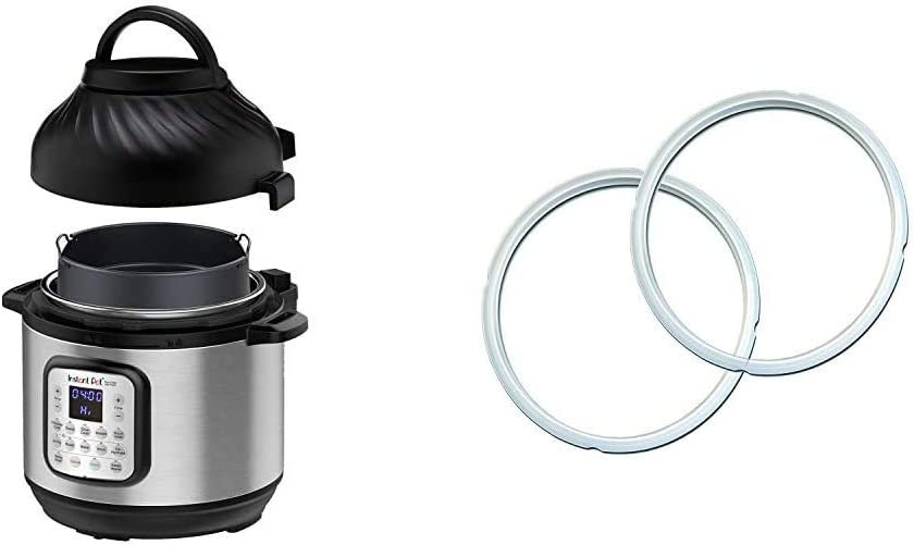 Instant Pot Duo Crisp Pressure Cooker 11 in 1, 8 Qt with Air Fryer, Roast, Bake, Dehydrate and more & Genuine Instant Pot Sealing Ring 2 Pack Clear 8 Quart