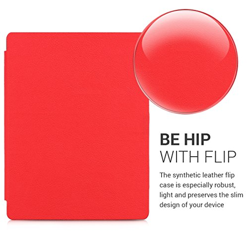 kwmobile Flip cover case for Kobo Aura H2O Edition 2 - imitation leather foldable case in red by kwmobile (Image #2)