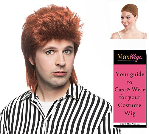 Stardust Cap - Starman Bowie Color Mixed Orange - Enigma Wigs David 80s Spiked Mullet Ziggy Stardust Bundle w/Cap, MaxWigs Costume Wig Care Guide