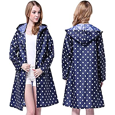 Tonfei Women's Lightweight Raincoat Waterproof Packable Rain Jacket Cute Polka Dot Hood Long Rain Coat (Blue): Clothing