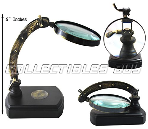 Marine Magnifying Glass Nautical Wooden Base Magnifiers Table Decorative Map Reader Antique Gift Article - Handmade Vintage Magnifying Royal Arc Design Adjustable Magnifying Glass with Black Base