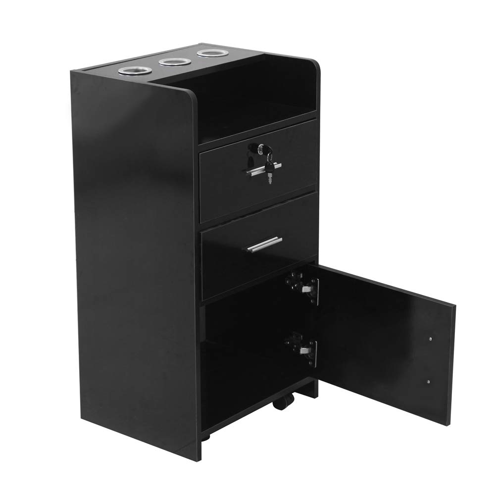 Idealbuy Salon Wooden Rolling Drawer Cabinet Trolley Spa 3-layer Cabinet Equipment with A Lock Black