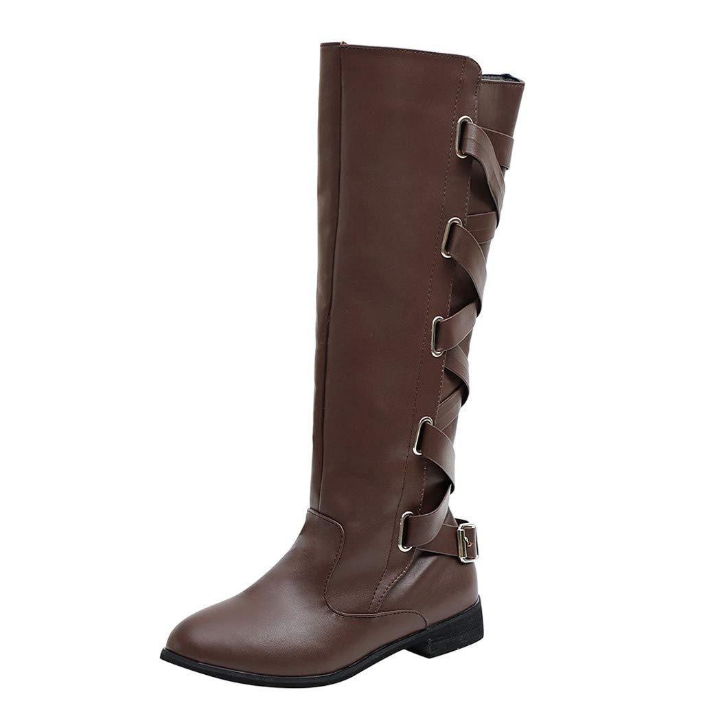 Damen Stiefel Leder Mit Absatz Langschaft Elegant Winterstiefel Frauen Kniehoch Rei/ßverschluss Vintage Boots