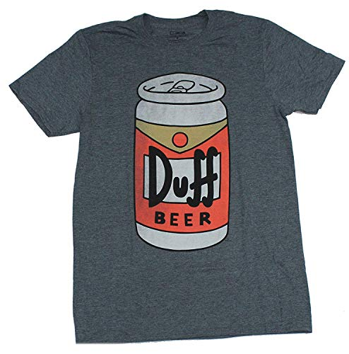 The Simpsons Mens Simpsons Duff Beer T-Shirt - Iconic Brew of Moe's Tavern Graphic T-Shirt (Charcoal Heather, Large)