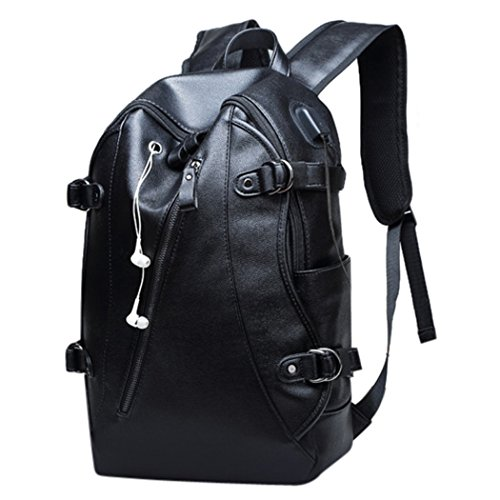 Amazon.com: Fanspack Mens Laptop Backpack with USB Charging Port PU Leather School Backpack Black Travel Rucksack: Clothing