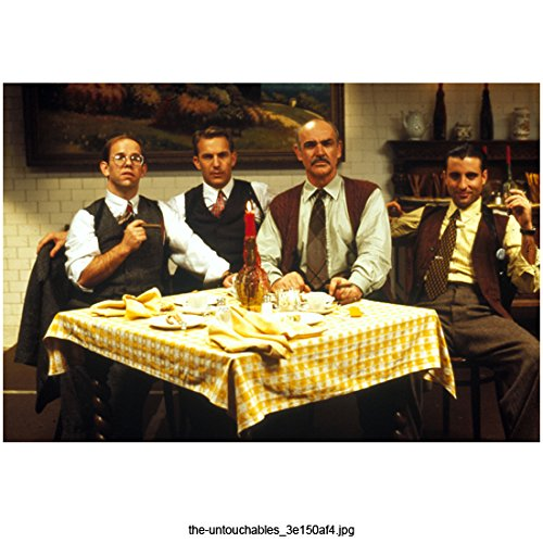 The Untouchables (1987) 8 inch x 10 inch Photograph Sean Connery, Kevin Costner, Andy Garcia & Charles Martin Smith Seated at Table kn