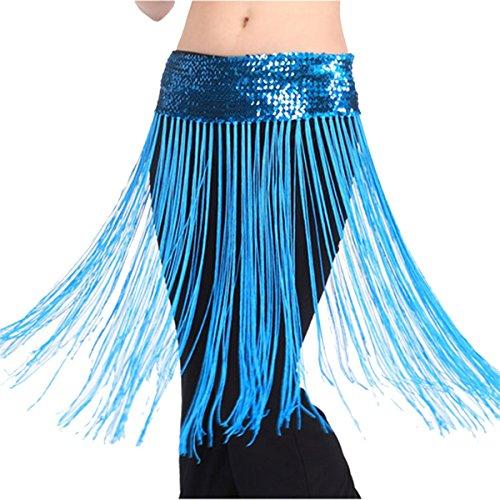 Samba Costumes Dancer (Women's Belly Dance Hip Scarf Long Tassels Brilliant Belt Skirt,Lake)