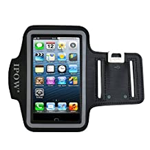 IPOW iPhone 5/5s/5c iPod Touch 5 Sweat Resistant Neoprene Sport Armband Belt Strap Band Sleeve Case Cover Pouch + Key Holder for Running Jogging Gym Cycling Workout