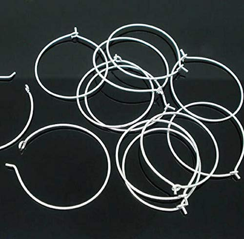 25 Wine Charm Hoops Silver Plated 20mm Jewelry Making Supply, Pendant, Bracelet, DIY Crafting and Other by Wholesale Charms