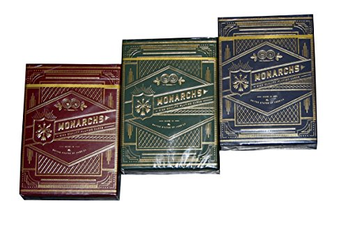 THEORY11 MONARCH PLAYING CARDS 3 DECK SET IN RED, GREEN & BLACK/NAVY BLUE