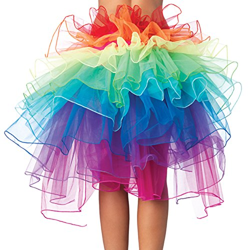Women Girls Layered Rainbow Tutu Skirt with Adjustable Ribbon for Dancing Banquet Carnival Cosplay Party and Celebration, Costume One Size