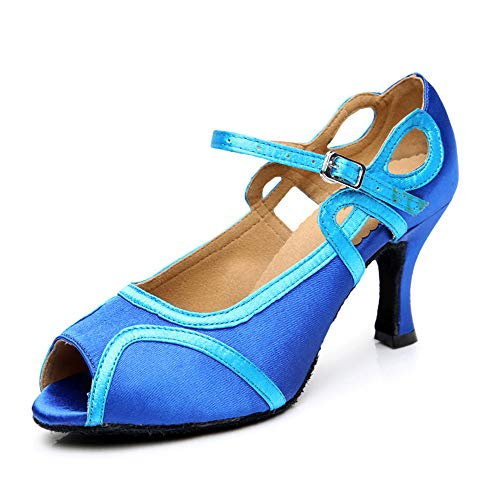 7 Women's Royal Dance 5cm Samba Height Girls Ladies Summer Shoes 5cm Latin professionals To Latin Modern Dance Shoes 25 Dance 0cm Jazz Material Chacha Shoes Women's 22 Size Soft Shoe Dance Blue Satin 5xTqw