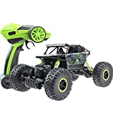 Hugine Rock Crawler RC Car 1:18 Off Road Vehicle 4x4 Race Car Dune Buggy Remote Control Monster Truck 2.4Ghz Rechargeable Toy (Green)