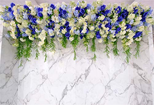 - Laeacco Floral Wedding Photo Booth Backdrop 7x5ft Vinyl Blue Flowers Decoration Marble Texture Tile Wall Background Wedding Celebration Bridal Shower Bride Groom Portrait Shoot Studio Props