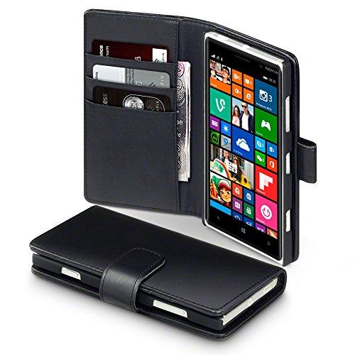 Terrapin Echt Leder Brieftasche Case Tasche mit Kartenfächer und Bargeld für Nokia Lumia 830 Hülle Schwarz