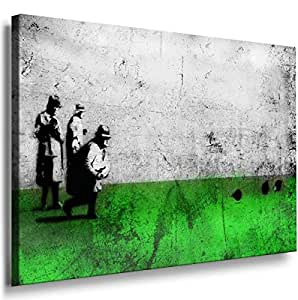 Banksy Graffiti Street Art -1025, Size 100x70x2 Cm. Printed On Canvas Stretched On A Wooden Frame.