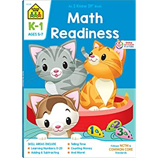 School Zone - Math Readiness Workbook - 64 Pages, Ages 5 to 7, Kindergarten to First Grade, Telling Time, Counting Money, Addition, Subtraction, and ... Workbook Series) (Deluxe Edition 64-Page)