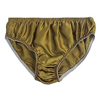 Farlenoyar Mens 100% Mulberry Silk Briefs Sexy Underwear Soft Stretch Waist Daily Wear Panties (L (Tag 2XL), Gold)