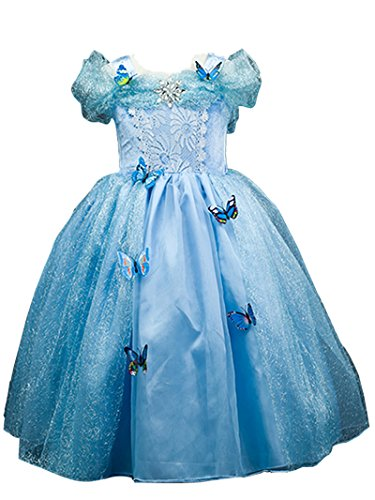 [Domiray New Cinderella Dress Princess Costume Blue Butterfly Girl Dress (5-6, Blue)] (Cinderella Costumes For Girl)