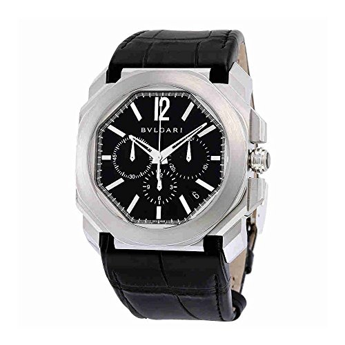Bvlgari Octo Velocissimo Chronograph Black Lacquered Polished Dial Black Leather Mens Watch 102103