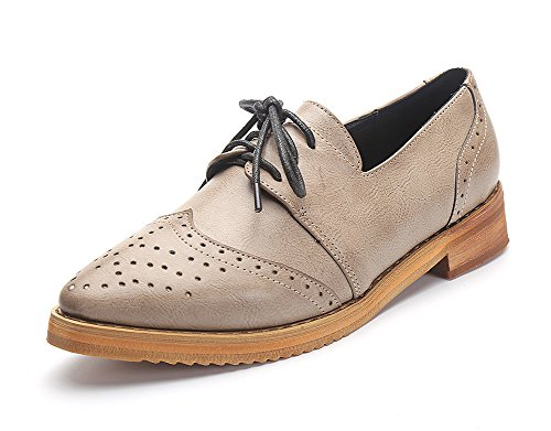 Easemax Womens Mode Rétro Bout Pointu Coupe Basse Lace Up Oxfords Chaussures Abricot