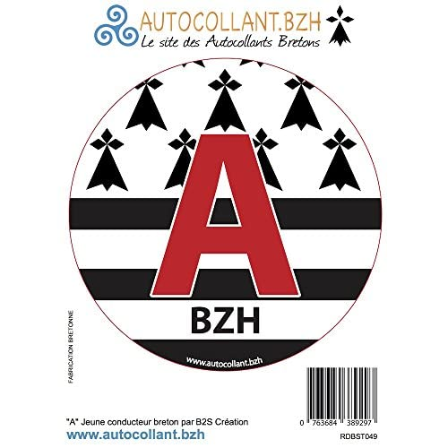 Disque Autocollant A Jeune Conducteur Breton BZH well-wreapped