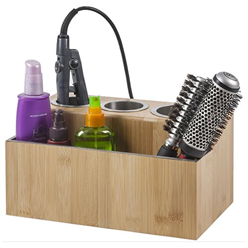 Eco Friendly Flat Lid (G.U.S. Eco-Friendly Bamboo Hair Styling Station Holder for Hairdryer, Flat Iron, and Curling Iron, Plus Compartment for Hair Tools or Power)