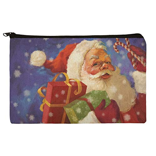 Christmas Holiday Santa Presents Candy Canes Makeup Cosmetic Bag Organizer Pouch
