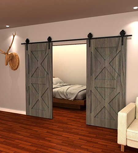 10FT Vintage Strap Industrial Wheel Sliding Barn Wood Door Hardware Track Kit,(10FT Track Double Door) - Wood Closet Doors