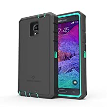 Samsung Galaxy Note 4 Rugged Case,Zerolemon ZeroShock Rugged Case + Belt Clip [Battery NOT Included] (Fits All Versions of Galaxy Note 4) [180 days ZeroLemon Warranty Guarantee] - Mint/ Black