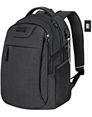 KROSER Laptop Backpack for 15.6 Inch Travel Business Computer Backpack with USB Charging Port Water-Repellent College School Casual Daypack for/Men/Women-Charcoal Black
