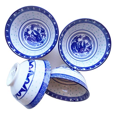 Set of 4 - Blue White Dragon Asian Chinese Japanese Small Round Porcelain Ceramic Bowls for Tapas Appetizers Sushi Condiment Sauce Dessert Snack Nuts Candy 3.8