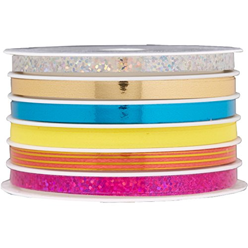 Jillson Roberts 6 Spool-Count Multi Channel Curling Ribbon Available in 9 Color Combinations, Dazzle Holographic, Glitter and Metallic ()
