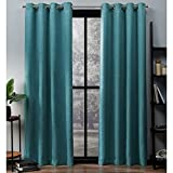 Exclusive Home Oxford Textured Sateen Thermal Window Curtain Panel Pair with Grommet Top, 52×84, Teal, 2 Piece