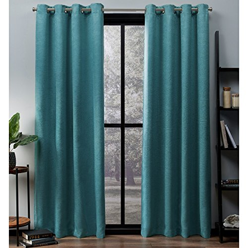 Exclusive Home Curtains Oxford Textured Sateen Thermal Window Curtain Panel Pair with Grommet Top, 52x84, Teal, 2 Piece