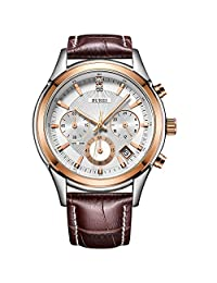 BUREI Men's Rose Gold Chronograph Watch with Date Analog and Brown Leather Strap
