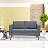 Cloud Mountain Linen Fabric Loveseat Living Room Furniture 2 Seat Sofa with...