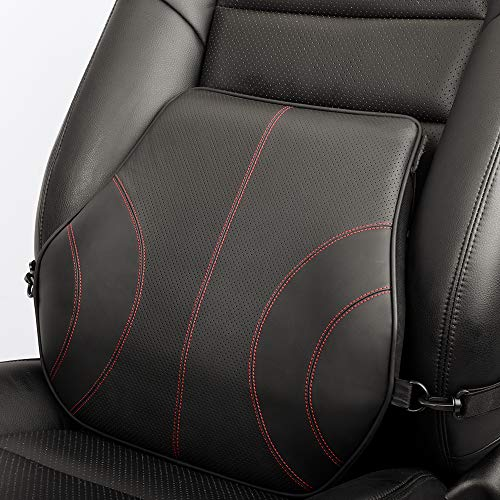 Aukee Lumbar Support for Car, Genuine Leather Memory Foam Pillow Lower Back Cushion for Office Chair with Adjustable Strap Black 1 Pack
