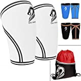 CHLC HOUSE Knee Sleeves (1 Pair) Free Gym Bag - Squat Knee Support & Compression for Powerlifting, Olympic Weightlifting, Crossfit, Bodybuilding - 7mm Neoprene - For Men & Women- XL White
